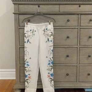 H&M Cream High Waisted Floral Pants XS